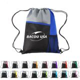 Mesh Pocket Tricolored Drawstring Sports Pack  Mesh Sport Drawstring Backpack