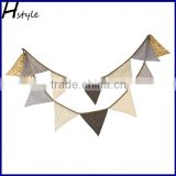 Coffee Polka Dot Mini Fabric Bunting Double Sided Banner 12 Flags PL027