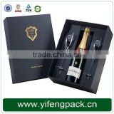 black pu leather cardboard wine bottle gift box with EVA