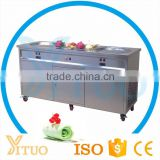 Double pan cold stone marble slab top fry ice cream machine with frozen plate
