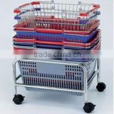 Supermarket holder of basket/Wire steel basket stand/wire mesh basket