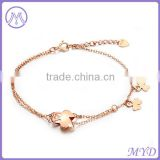 Fashion Jewelry Factory High Quality 925 Silver Clover Design Rose Gold Plated Fancy Girls Charm Anklet