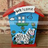 Christmas children's gift small cartoon coin saving money box wooden house money saving box