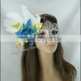 2014 Cheap Chirstmas white feather blue gold flower Custom Party Mask