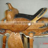 Leather western saddle