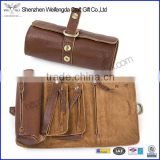 Soft Genuine Leather Handmade Roll up Pencil Pen Pouch Bag Organizer with Zipper and Snap Closure
