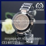 fashion zircon stone dial micro pave black ceramics watches*micro pave zircon ceramics watches