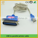 Manufacturer price nickel plated usb 2.0 to parallel 25pin printting cable for printer machine