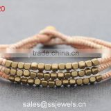 Fashion thai style brass beads wax woven bracelets for women/men with brass bell closure factory price