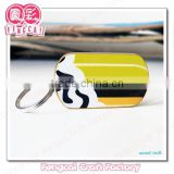 Custom Laser Craft colorful painted wood key chain pendant for promotional or tourist souvenir