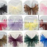Factory supply colored organza chair sashes plain dyed organza fabric for banquet wedding Party Decoration Bow, home and hotel