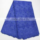 Royal blue african swiss cotton big voile lace heavy lace swiss voile lace for family evening dress