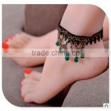 lace ethnic handmade crystal beads anklet, antique anklets