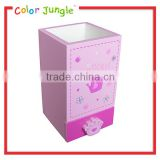 Wooden pen container pinky princess crown Cute pen container with drawers