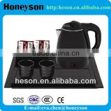 hotel guest supply hot sale electroc double-shell electric kettle pot with melamine tray set