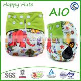 Double Row Gussets Square Color Tab, Baby Cloth Diaper Happy Flute