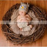 Newborn Baby Boy or Girl Wide Eyed Owl Hat and Leg Warmers Photo Prop Set - Beige Fleck
