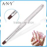 ANY Nail Art Beauty Care Metal Handle Flat Head Nail Brush UV Gel Nails