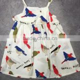 Children Clothing China Manufacturer Breathable Printing Cartoon Birds Girl Dress