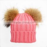 winter hat with two fur balls wholesale