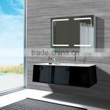 Modern Style Double Door Illuminated Aluminium Bathroom Mirror Cabinet With Led Light And Adjustable Tempered Glass Shelf