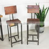 industrial Metal wood bar stool with back , Antique furniture bar stool with back bar chair