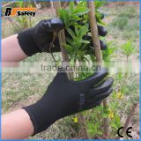 BSSAFETY softtextile nitrile coated gloves/pvc glove/disposable safety glove for good working