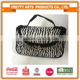 BSCI factory audit 4P zebra-stripe cosmetic bag standard color MOQ 100pcs all in-stock for wholesales