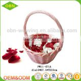 China supplier fashion durable Lovely girl small cheap pink decor wicker hanging flower basket for wedding