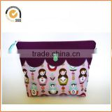 2014 Retro Style Zipper Pouch/Makeup Bag: Purple Scallops on Lavender Russian Doll/Matryoshka Fabric with Green Vintage Buttons