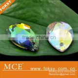 glass crystal AB teardrop sew on crystal beads