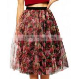 Ladies Fashion High Elastic Waisted Mesh Midi Puffy Red and Black Floral Unique Vintage Tutu Skirt