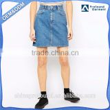 Hot sale wholesale clothing custom mid wash blue color 100% cotton jean skirt ladies denim mini skirt