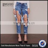 MGOO High Quality Tore Up Knee Women Blue Color Jeans Cotton Baggies In Fold Pants 2016