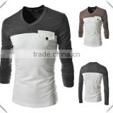custom fashion bamboo cotton long sleeve V neck blank t-shirt fitness shirt for men with chest pocket factory direct made