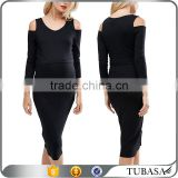 ladies double layer bodycon midi fashion maternity clothes nursing dress with cold shoulder