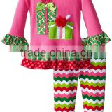 Wholesale boutique fall girls gift children ruffle shirts with chevron pants kids christmas outfits
