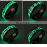 2017 Novel Stainless Steel Retro Scripture Jesus Skull Glow in the Dark Ring Fluorescent Letter Lord of Rings