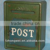 Hongwei Handmade Antique Vintage Green Wooden Mailbox/Letter Box/Post Box for Home&Garden Decor,Wall Mounted,High Quality