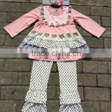 New arrival kids clothing sets baby girls fall winter clothes girl boutique outfits ruffle polka dot pants
