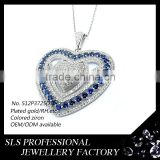 Heart necklace of delicate workmanship with blue zircon double heart necklace latest model fashion necklace 2015