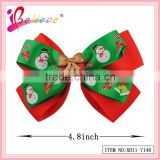 Global hot selling hair accessories factory wholesale nice christmas ribbon bow hair clip for kids (XH11-7146)