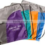 Colorfull back pack drawstring tote with a mesh pocket