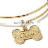 Vnistar wholesale cheap dog bone charm in gold color fit adjustable bracelet and necklace TC-009