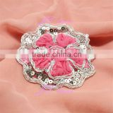 Chiffon Flower Trim - Rose Pink with Sequin Leaf, Flower Applique Supply or Hair Accessories, Headband, Clothing, Dress