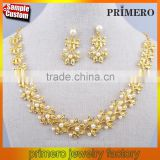 Indian Gold Jewellery Newest Wedding Bridal Fashion Imitation Diamond Pearl Necklace Set