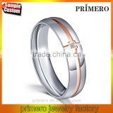 High Quality Wedding Rings Silver Rose Gold Plated Cross Grooved Designs With Cubic Zirconia Inlay For Girl