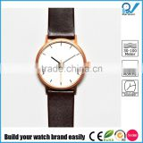Minimalist design versatile accessory pvd rose gold case calf leather strap watch stainless steel back women