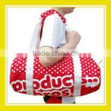 2016 Casual Bros Red White Dots Nylon Zippered Waterproof Barrel Duffel Sport Shoulder Bag