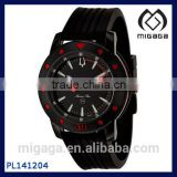 Fashion Rubber strap cool quartz watch for men with date window/ date function black rubber band sport quartz watch